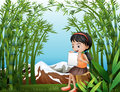 A girl sitting above a stump at the bamboo forest illustration of Royalty Free Stock Photo