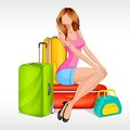 Girl sitting with baggage Royalty Free Stock Photo