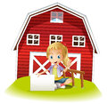 A girl sitting in front of the barnhouse holding an empty signbo illustration signboard on white background Stock Image