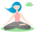 Girl sitting in lotus yoga pose