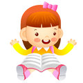 The girl is sitting and reading a book education and life chara character design series Stock Photography