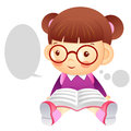 The girl is sitting and reading a book education and life chara character design series Stock Photos