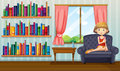 A girl sitting on a sofa holding a book inside the house illustration of Royalty Free Stock Photo