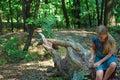 Girl sitting on a tree stump Royalty Free Stock Photo