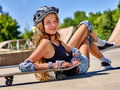 Girl with skateboard at the skate park. Royalty Free Stock Photo