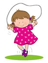 Girl skipping hand drawn picture of little illustrated in a loose style vector eps available Royalty Free Stock Photography