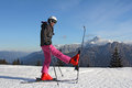 Girl on skis Royalty Free Stock Photo