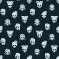 Girl skull seamless pattern