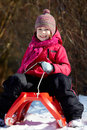 Girl on sledge Royalty Free Stock Image