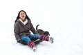 Girl sledging with her dog in winter in denmark Royalty Free Stock Photos