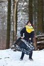 Girl sledging in winter in denmark Stock Photos