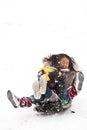 Girl sledging in winter in denmark Royalty Free Stock Photography