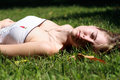 Girl sleep on grass Stock Photo