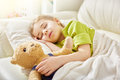 Girl sleeping in the bed Royalty Free Stock Photo