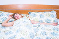 Girl sleeping in bed Royalty Free Stock Photo