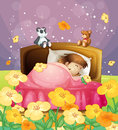 A girl sleeping in her bed illustration of beautiful nature Royalty Free Stock Photo