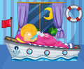 A girl sleeping on her boat like bed illustration of Stock Photos