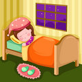 Girl sleeping in her room Stock Image