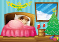 A girl sleeping in her room with a christmas tree illustration of Royalty Free Stock Photos