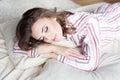 Girl sleeping in pajamas with makeup Royalty Free Stock Photo