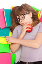Girl sleeping on pile of books Stock Photos