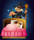 A girl sleeping with a witch at the back illustration of Stock Images