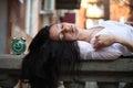 Girl sleepyhead Royalty Free Stock Photo