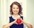 Girl with small heart picture of beautiful Royalty Free Stock Images