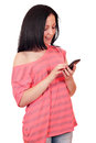 Girl with smart phone Stock Photography
