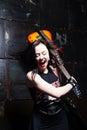 Girl smashing guitar photo of Royalty Free Stock Photo