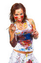 Girl smeared in paint Royalty Free Stock Image