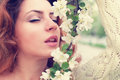 Girl smell tree flower Royalty Free Stock Photo