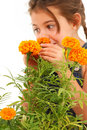Girl Smelling Marigold Royalty Free Stock Photography