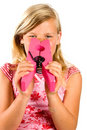 Girl is smelling an unpleasant smell Royalty Free Stock Photo