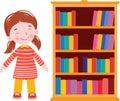 Girl smile near bookshelf Royalty Free Stock Photo