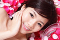 Girl smiling face with rose Royalty Free Stock Photo