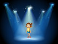 A girl smiling in the middle of the stage under the spotlights illustration Stock Photo