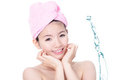 Girl smiling touch face after shower Stock Photos