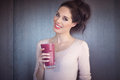 Girl With Smoothie Royalty Free Stock Photo
