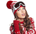 Girl snowboarding portrait of a happy young Stock Photos