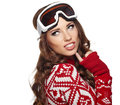 Girl snowboarding portrait of a happy young Stock Image