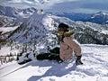 Girl snowborder Stock Images