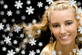 Girl with snowflakes Royalty Free Stock Images