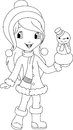 Girl and snowman coloring page winter children making Royalty Free Stock Image