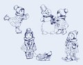 Girl and snowman set of vector sketches Royalty Free Stock Photography