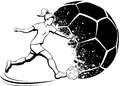 Girl soccer player with splatter ball black and white illustration of a kicking a a design behind her Royalty Free Stock Photos
