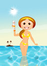 Girl with solar lotion illustration of Royalty Free Stock Photos