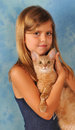 Girl with somali kitten Royalty Free Stock Photo