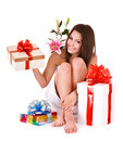 Girl in spa with group of gift box and flower. Stock Photos