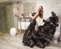 Girl with spanish flamenco dress in a bathroom portrait of beautiful fashion black posing modern Royalty Free Stock Images
